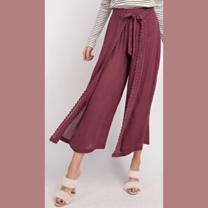 Wife of Eric Pants & Jumpsuits - Wide Leg Pants w Crochet Lace